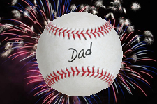 baseball with fireworks