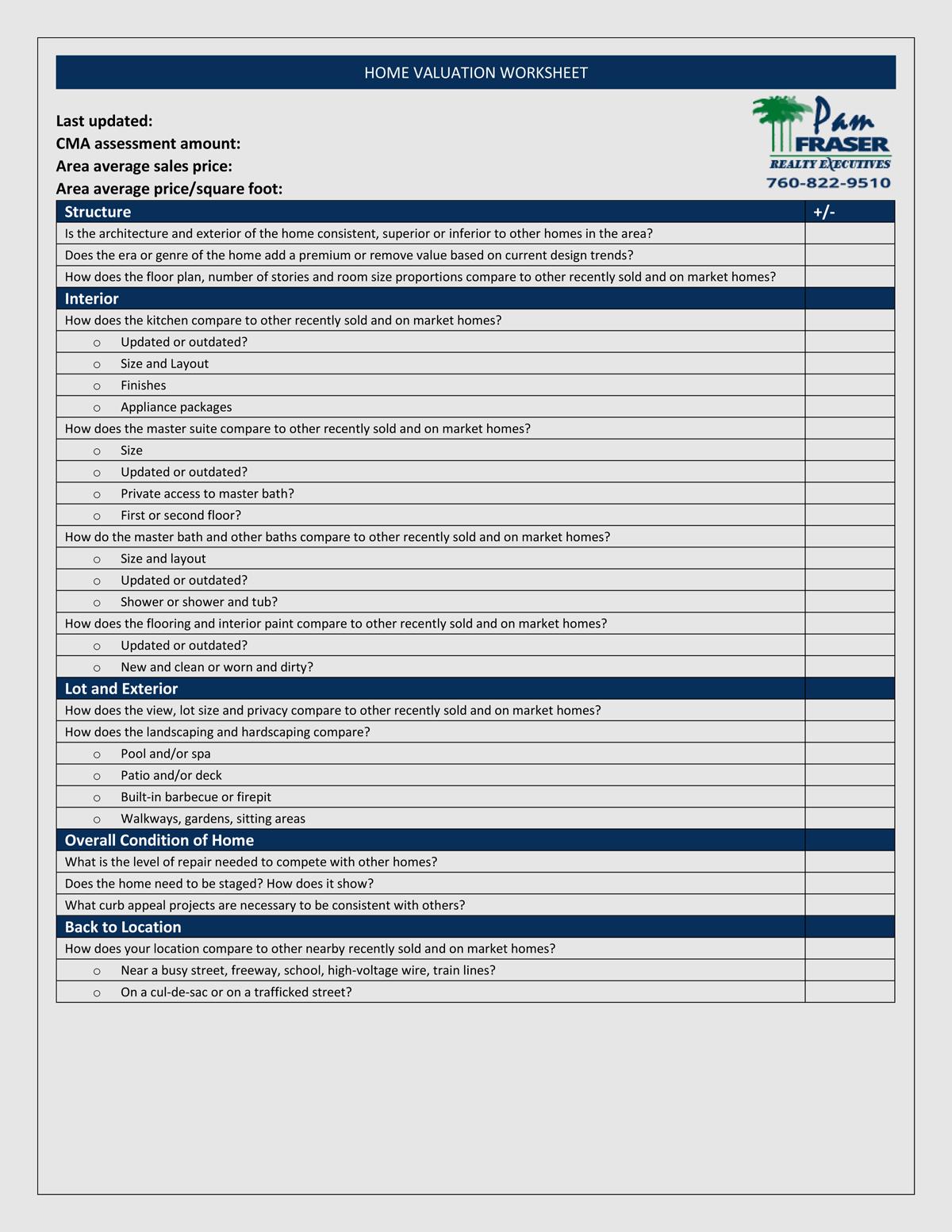 Pam Fraser's home valuation worksheet