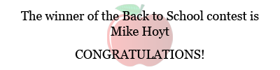 Back to School contest winner announcement