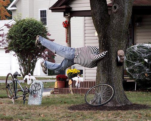Halloween decoration stuck in tree